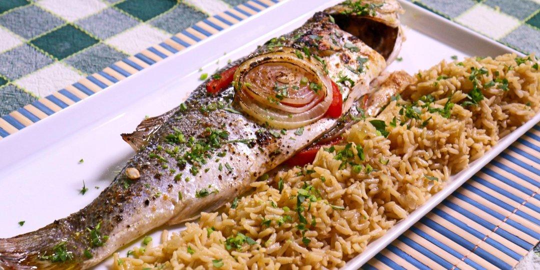 Λαβράκι Blue Island στο φούρνο με ρύζι καστανό  - Images