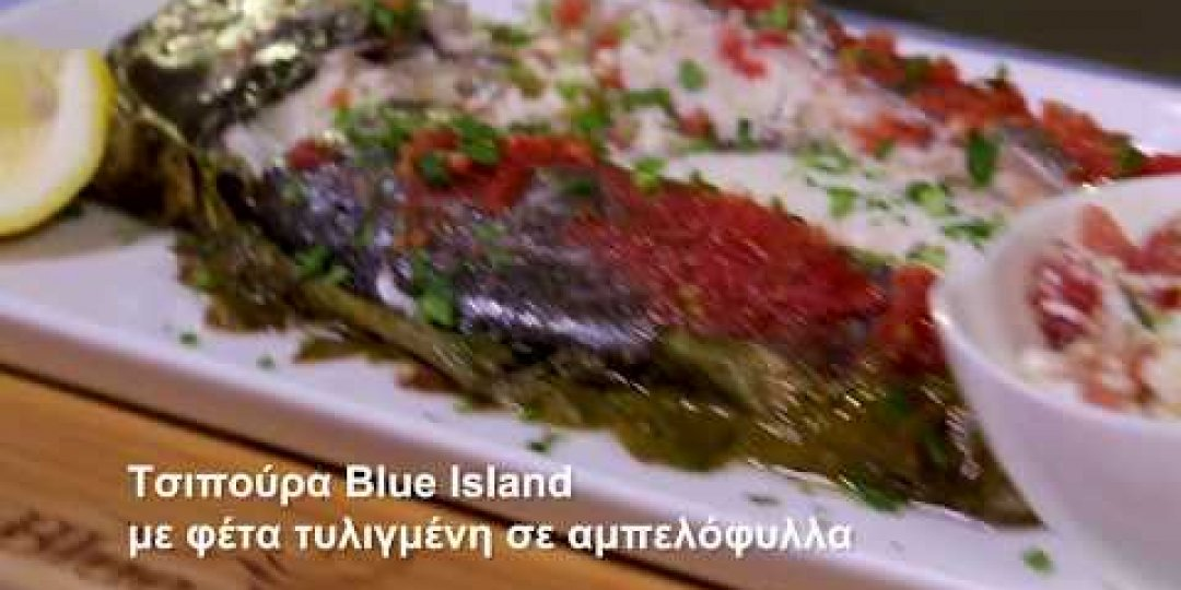 Τσιπούρα Blue Island με φέτα τυλιγμένη σε αμπελόφυλλα (video) - Κεντρική Εικόνα