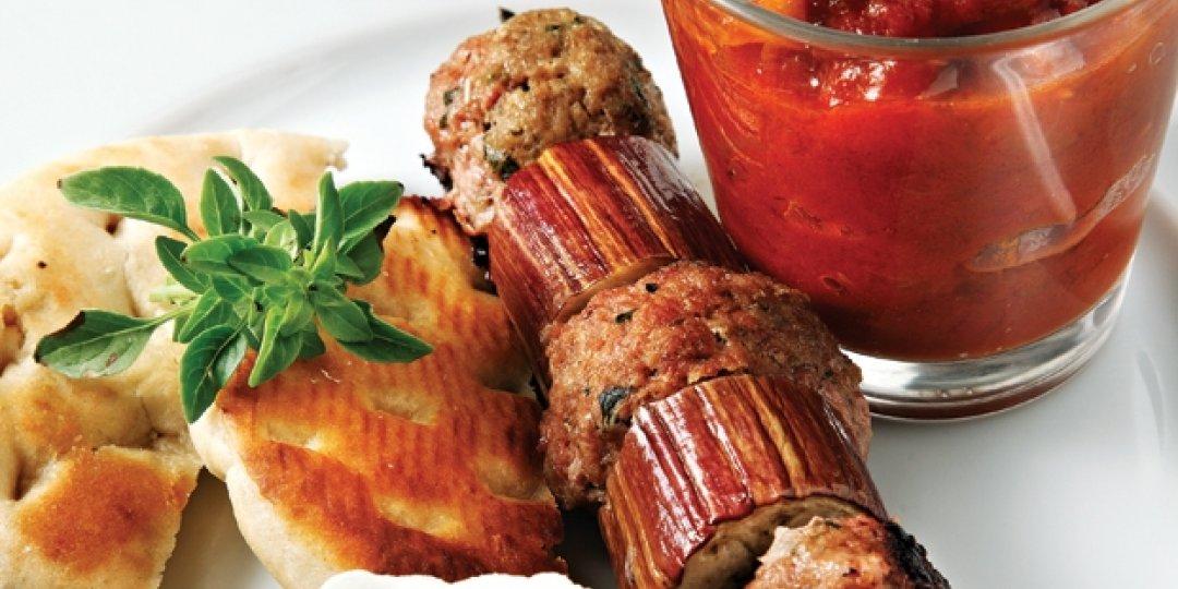 Μίνι κεμπάπ Foodsaver με μελιτζάνες και σάλτσα ντομάτας - Images