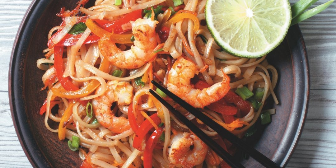 Rice noodles Exotic  Food με  γαρίδες  - Images