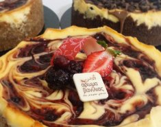 Baked Cheesecake με σάλτσα σμέουρων - Images