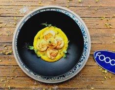 Χτένια με Πουρέ Κολοκύθας και Καραμελώμενα Κρεμμύδια - Images